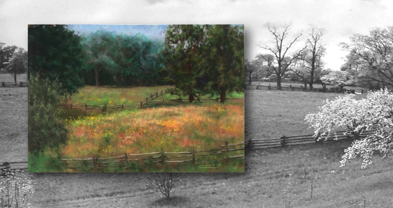 Plein air painting by Jessica Vandenburg, 2014, and photo by Eleanor Roosevelt, 1944 Theodore Roosevelt Museum at Old Orchard